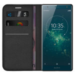 Leather Wallet Case & Card Holder Pouch for Sony Xperia XZ2 - Black